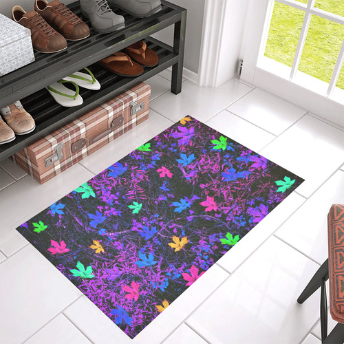 """maple leaf in pink blue green yellow purple with pink and purple creepers plants background Azalea Doormat 30"""" x 18"""""""