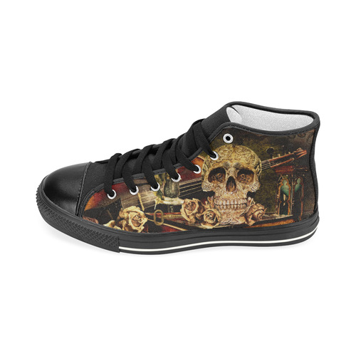 Steampunk Alchemist Mage Roses Celtic Skull Men's Classic High Top Canvas Shoes (Model 017)