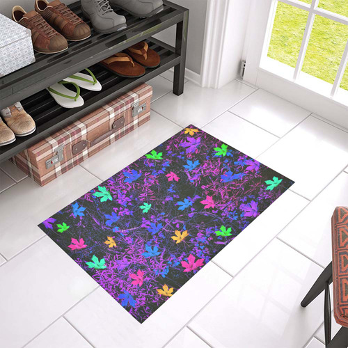 "maple leaf in pink blue green yellow purple with pink and purple creepers plants background Azalea Doormat 24"" x 16"" (Sponge Material)"