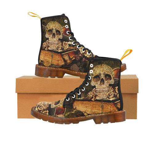 Steampunk Alchemist Mage Roses Celtic Skull Martin Boots For Women Model 1203H