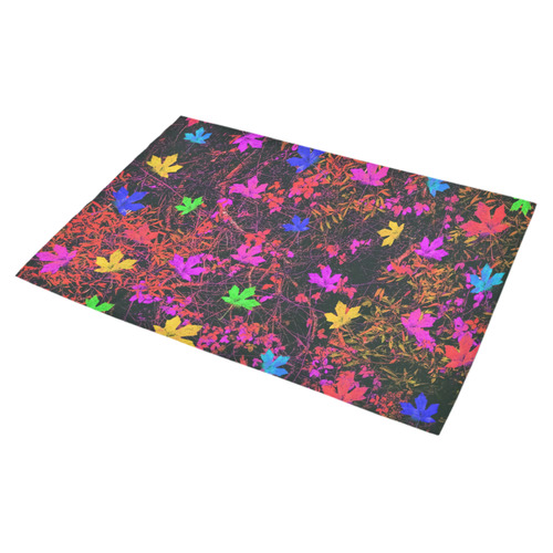 """maple leaf in yellow green pink blue red with red and orange creepers plants background Azalea Doormat 30"""" x 18"""" (Sponge Material)"""