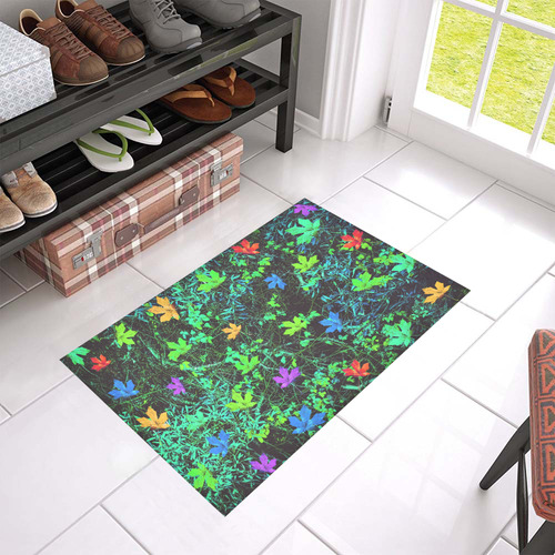 "maple leaf in pink blue green yellow orange with green creepers plants background Azalea Doormat 24"" x 16"""