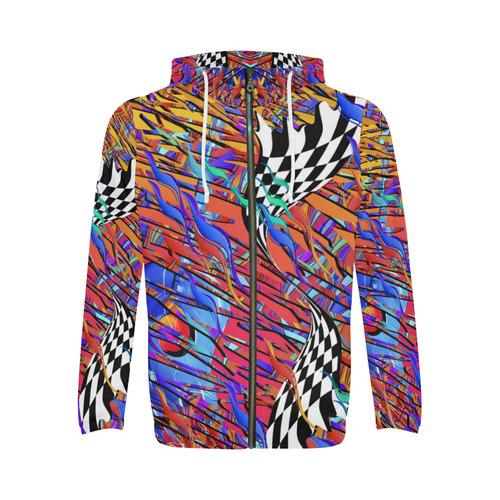 Hoodie Guitar Colorful Print by Juleez All Over Print Full Zip Hoodie for Men (Model H14)