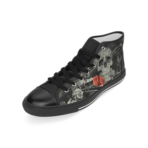 Steampunk Alchemist Mage Red Roses Celtic Skull Men's Classic High Top Canvas Shoes (Model 017)