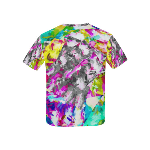 camouflage psychedelic splash painting abstract in pink blue yellow green purple Kids' All Over Print T-shirt (USA Size) (Model T40)