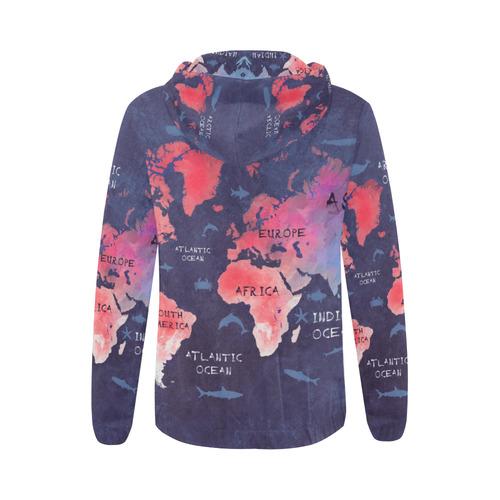 world map All Over Print Full Zip Hoodie for Women (Model H14)