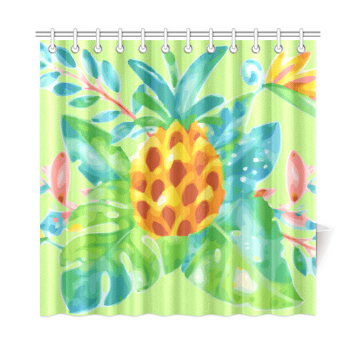 Summer Tropical Pineapple Fruit Floral Shower Curtain 72x72
