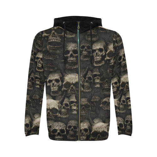 Crypt of the devilish dead skull All Over Print Full Zip Hoodie for Men (Model H14)