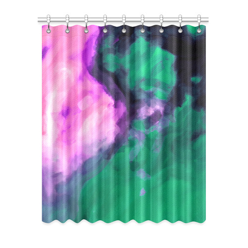 """psychedelic splash painting texture abstract background in green and pink Window Curtain 52"""" x 63""""(One Piece)"""