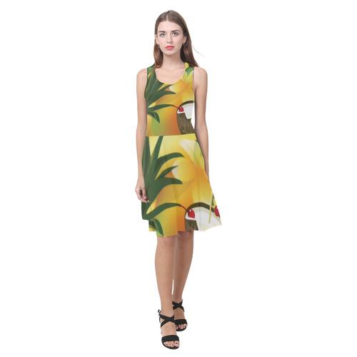 c8209719343 Tropical Floral Watercolor Pineapple Coconut Atalanta Casual Sundress(Model  D04)