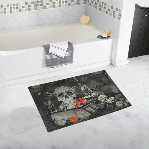 Steampunk Alchemist Mage Red Roses Celtic Skull Bath Rug 20''x 32''