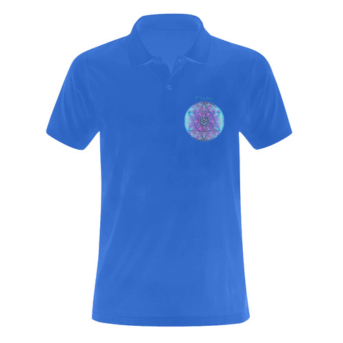 protection through an indigo wave Men's Polo Shirt (Model T24)