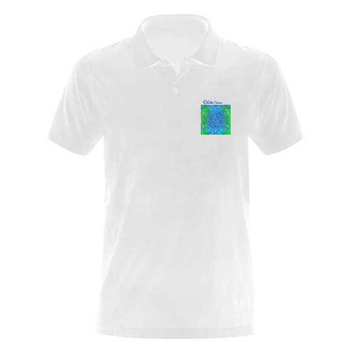 protection in nature colors-teal, blue and green Men's Polo Shirt (Model T24)