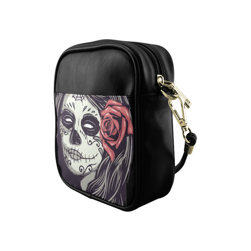 Sugar Skull Day of the Dead Girl Red Rose Sling Bag (Model 1627)