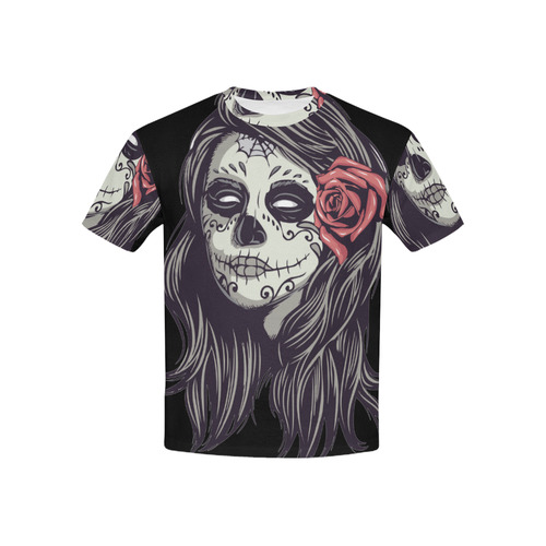 5ba466170 Sugar Skull Day of the Dead Girl Red Rose All Over Print T-shirt for Kid  (USA Size) (Model T40) | ID: D1702055