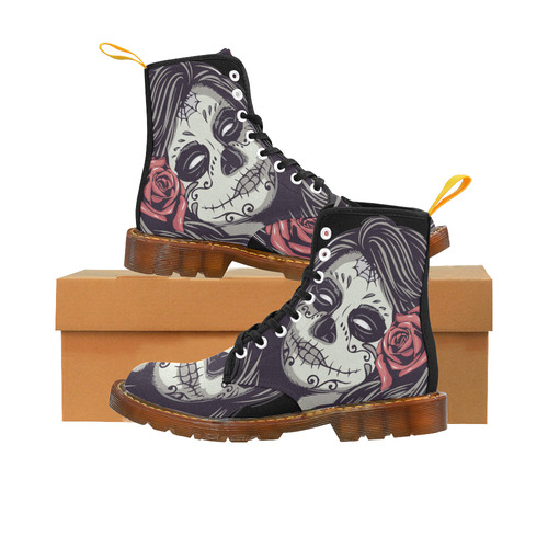 Sugar Skull Day of the Dead Girl Red Rose Martin Boots For Women Model 1203H