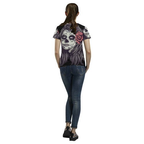 93557fab ... Sugar Skull Day of the Dead Girl Red Rose All Over Print T-Shirt for