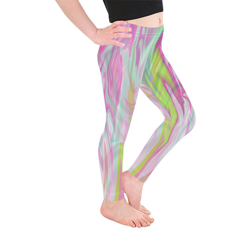 Pastel Iridescent Marble Waves Pattern Kid's Ankle Length Leggings (Model L06)