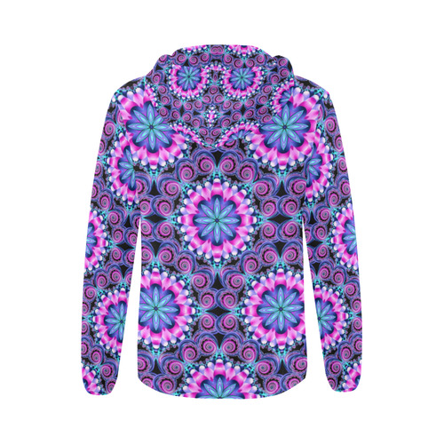 Mandala shades of pink All Over Print Full Zip Hoodie for Women (Model H14)
