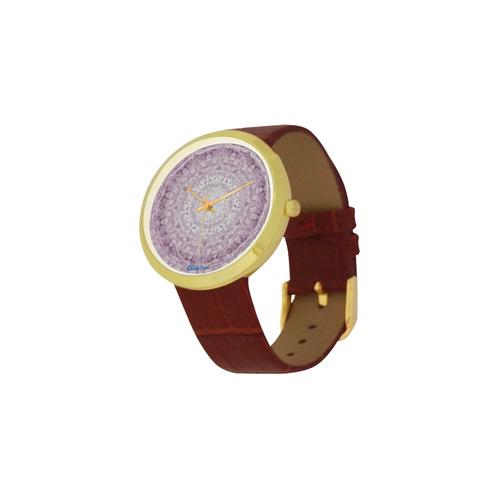 Protection-Jerusalem by love-Sitre Haim Women's Golden Leather Strap Watch(Model 212)