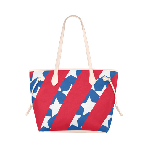 9a75b9f19 Red Stripes Blue and Stars American Flag Clover Canvas Tote Bag (Model 1661)