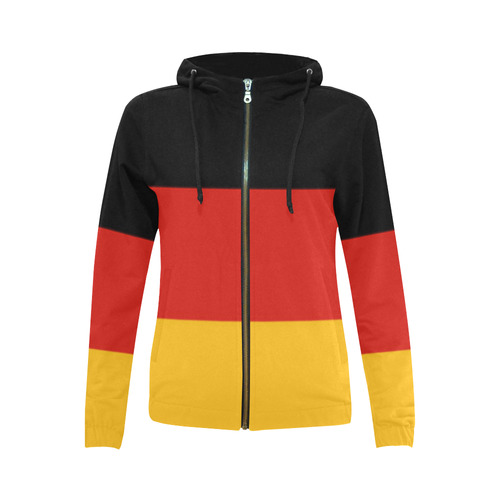 German Flag Colored Stripes All Over Print Full Zip Hoodie for Women (Model H14) | ID: D1713529