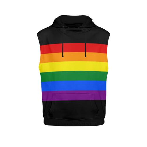 Gay Pride Rainbow Flag Stripes All Over Print Sleeveless Hoodie for Women  (Model H15)  099159de40