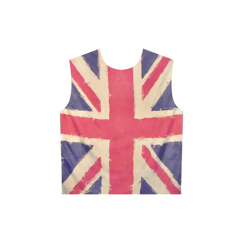 British UNION JACK flag grunge style All Over Print Sleeveless Hoodie for Women (Model H15)