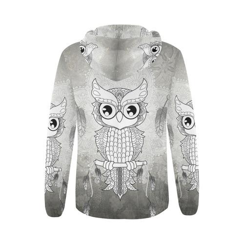 Cute owl, mandala design All Over Print Full Zip Hoodie for Women (Model H14)