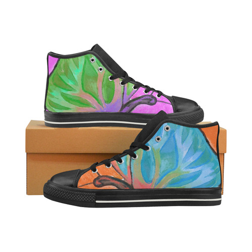 Butterfly High Top Canvas Shoes for Kid (Model 017)