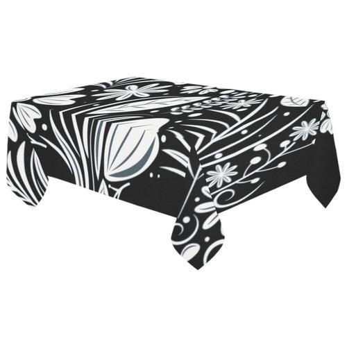 "White Floral Dia de los Muertos Skull Cotton Linen Tablecloth 60""x 104"""