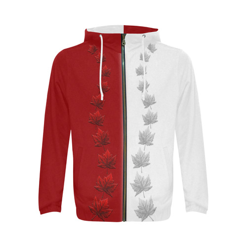 2 Tone Canada Hoodie Jackets All Over Print Full Zip Hoodie for Men (Model H14)