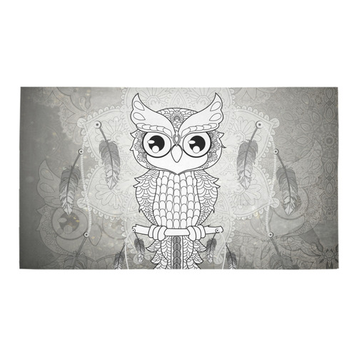 Cute owl, mandala design Bath Rug 16''x 28''