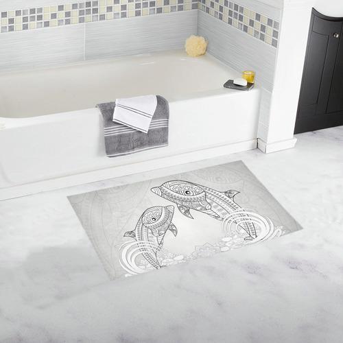 Funny dolphin, mandala design Bath Rug 16''x 28''