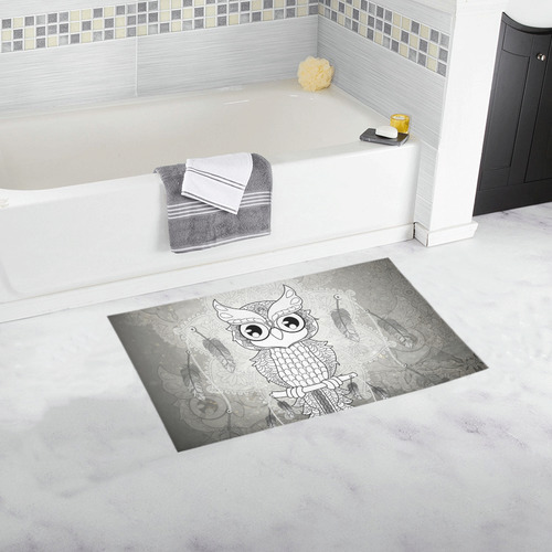 Cute owl, mandala design Bath Rug 16''x 28''