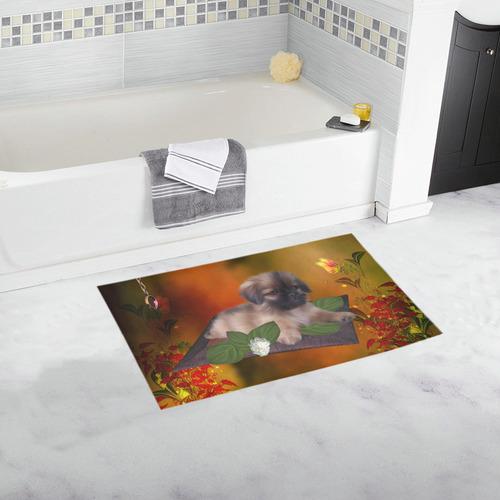 Cute lttle pekinese, dog Bath Rug 16''x 28''