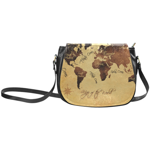 world map Classic Saddle Bag/Small (Model 1648)