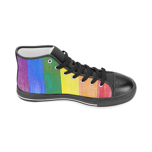 Rainbow Flag Colored Stripes Grunge Men's Classic High Top Canvas Shoes (Model 017)