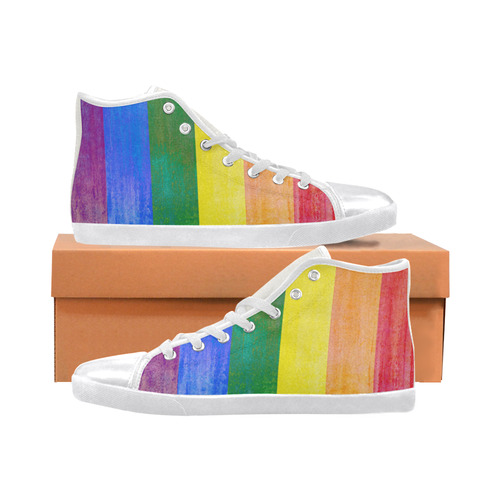 Rainbow Flag Colored Stripes Grunge Women's High Top Canvas Shoes (Model 002)