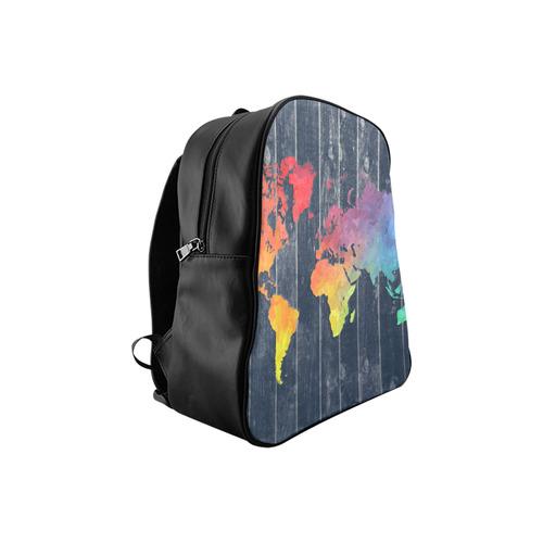 world map School Backpack (Model 1601)(Medium)