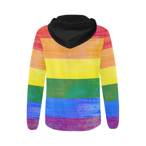 Rainbow Flag Colored Stripes Grunge All Over Print Full Zip Hoodie for Women (Model H14)