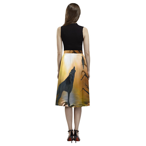 Lonely wolf in the night Aoede Crepe Skirt (Model D16)