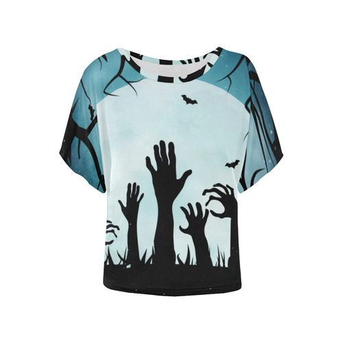 Scary Spooky Halloween Graveyard Hands Women's Batwing-Sleeved Blouse T shirt (Model T44)