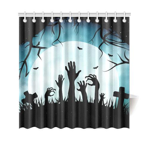 Scary Spooky Halloween Graveyard Hands Shower Curtain 69x70
