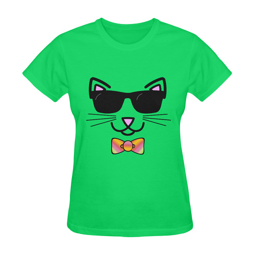 3876b44ee9 Cool Cat Wearing Bow Tie and Sunglasses Sunny Women s T-shirt (Model T05)