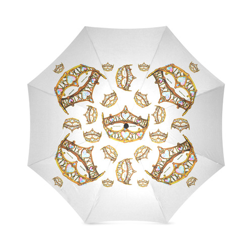 Gold Queen Of Hearts Crowns Tiaras by Kristie Hubler umbrella white background Foldable Umbrella (Model U01)