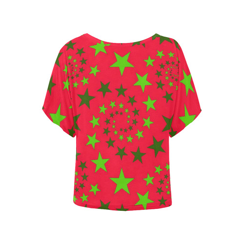 Star Swirls C by JamColors Women's Batwing-Sleeved Blouse T shirt (Model T44)