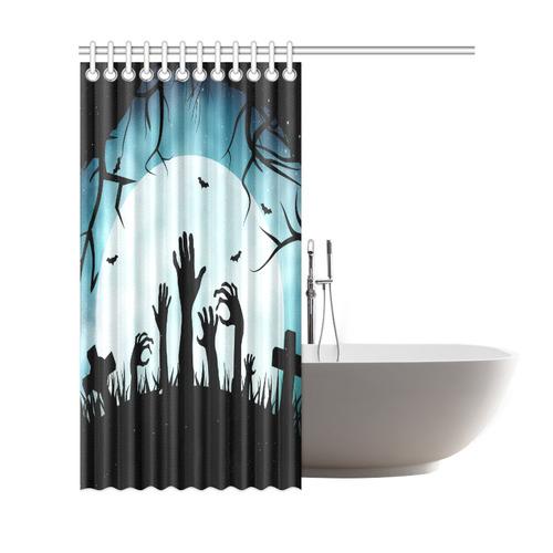 Scary Spooky Halloween Graveyard Hands Shower Curtain