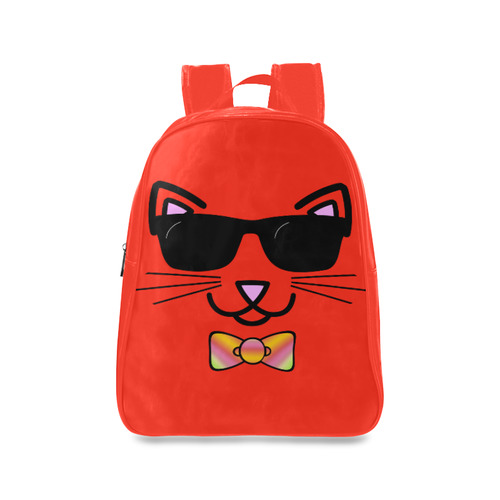 94efc13973 Cool Cat Wearing Bow Tie and Sunglasses School Backpack Large (Model 1601)