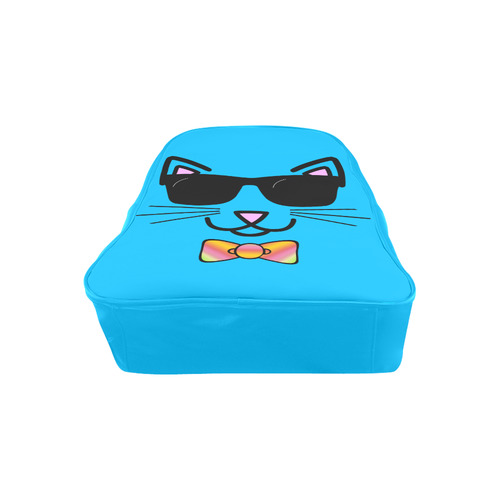 Cool Cat Wearing Bow Tie and Sunglasses School Backpack (Model 1601)(Medium)